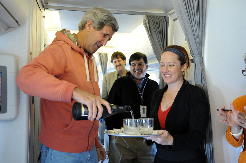 Secretary Kerry Celebrates First Briefing by Spokesperson Psaki En Route to Stockholm, Sweden