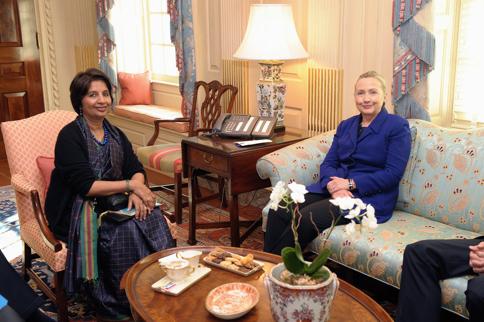 Secretary Clinton Meets With Indian Ambassador Rao