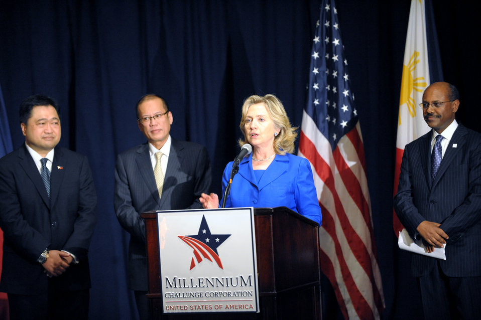 Secretary Clinton Delivers Remarks at a Millennium Challenge Corporation Signing Ceremony With Philippine President Aquino