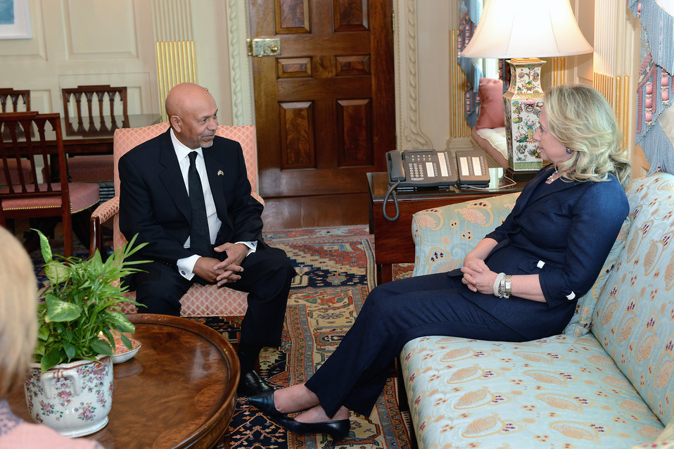 Secretary Clinton Meets With Libya's Ambassador to the U.S. Ali Suleiman Aujali