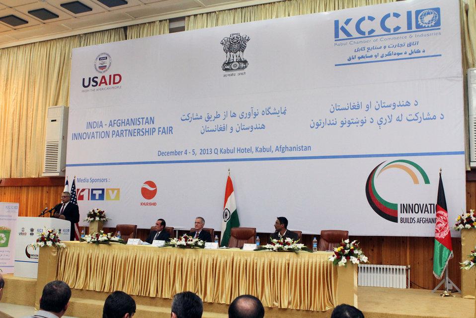 Indian Ambassador to Afghanistan Amar Sinha in India-Afghanistan Innovation Partnership Fair in Kabul.