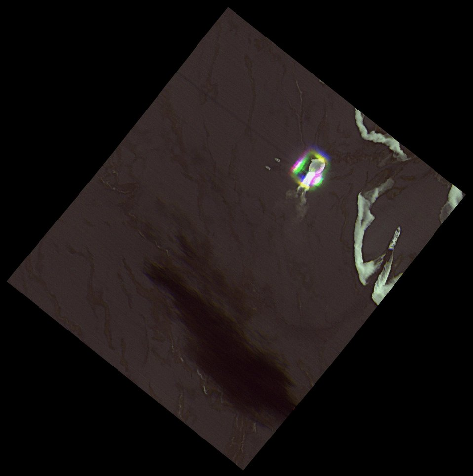 Infrared image of open-water oil burn
