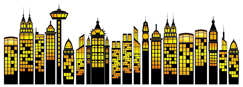 Public Domain Clip Art Image | Illustration of skyscrapers ...