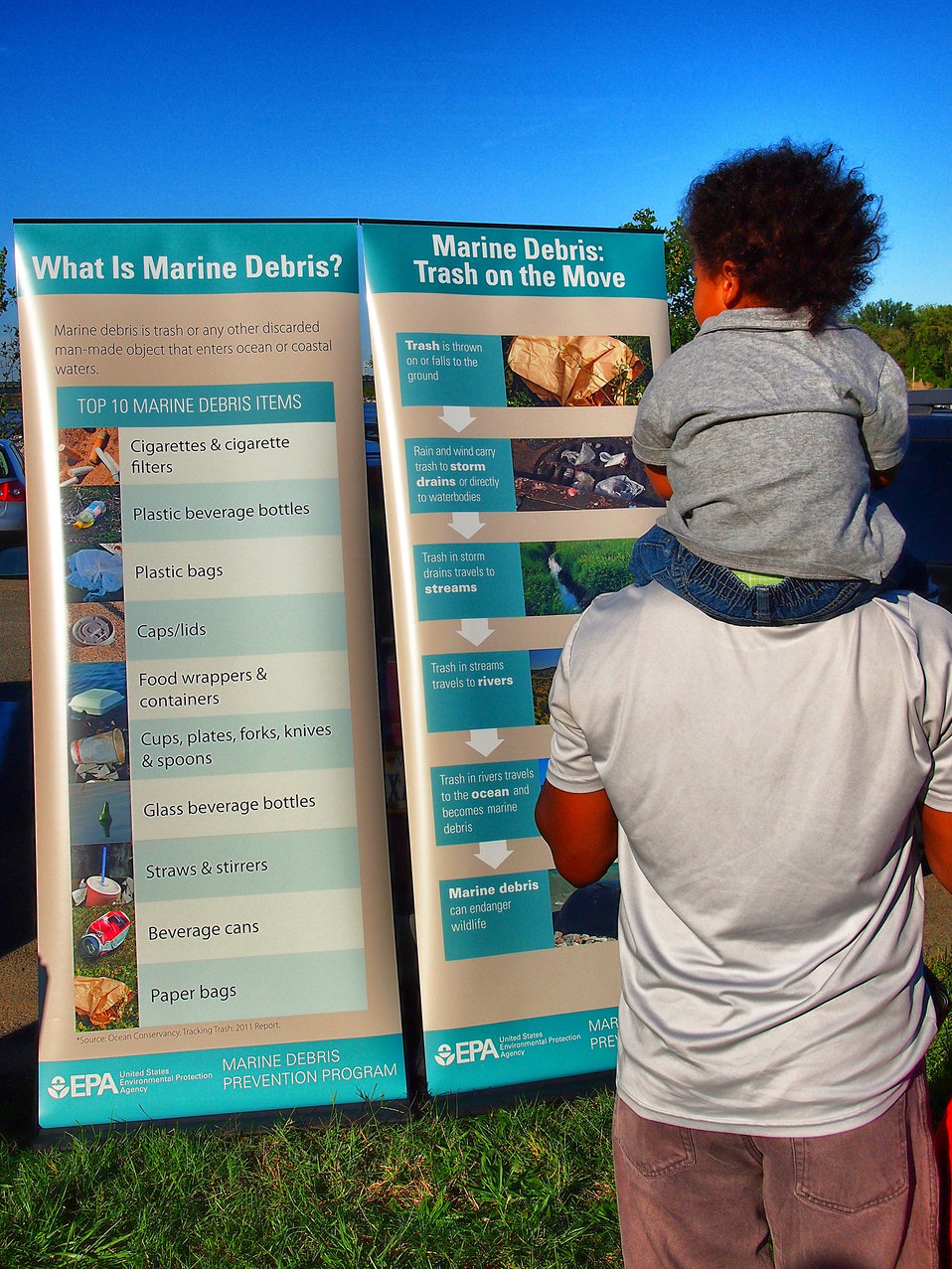 September 15, 2012 Father and son learn about marine debris at Anacostia River cleanup