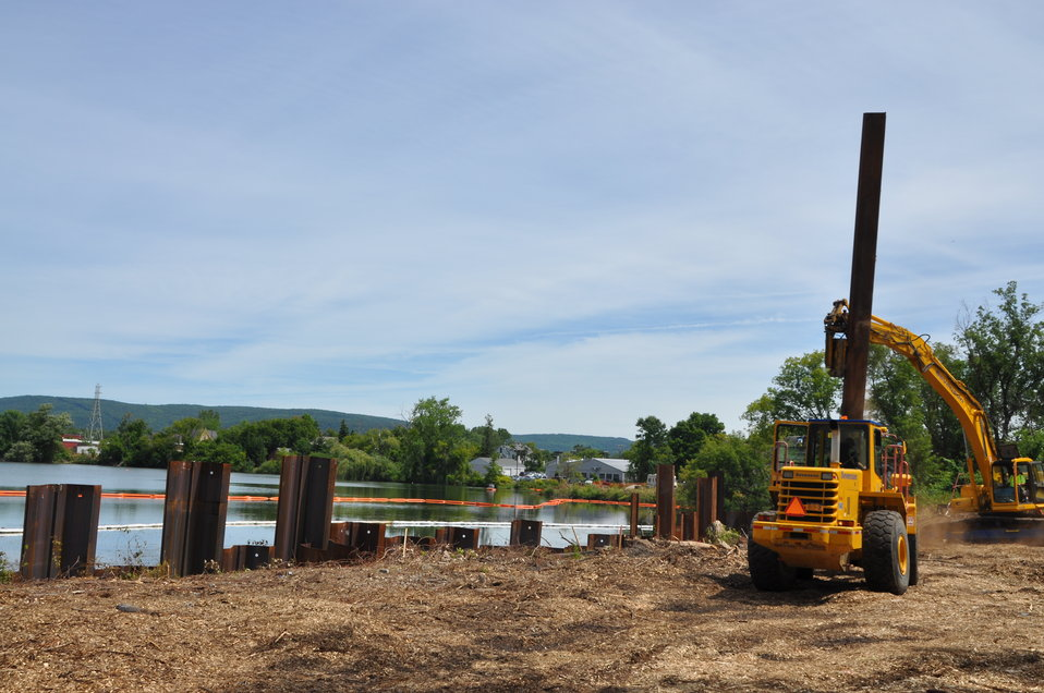 August 2012, Installation of sheet pile wall Silver Lake, Pittsfield, MA