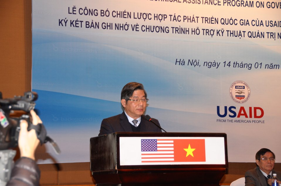 Vietnam's Minister of Planning and Investment Bui Quang Vinh speaks at the event.