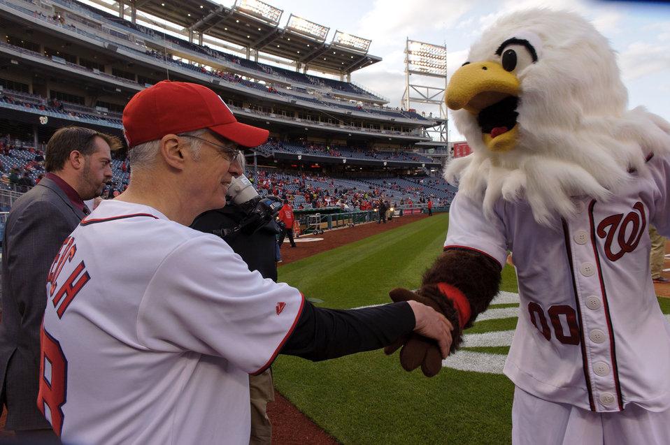 April 22, 2013 - Mascot Screech welcomes EPA Acting Administrator Bob Perciasepe to Nationals Stadium