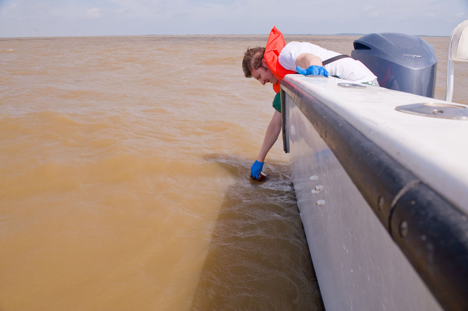 Water sampling in the Gulf.