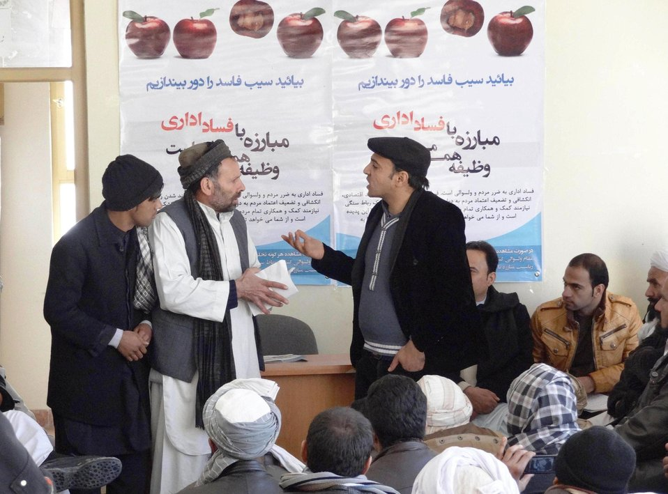 The Kushk Rabat-e Sangi District Governor with support of the Herat Theater office organized an anti-corruption drama on February 9th.