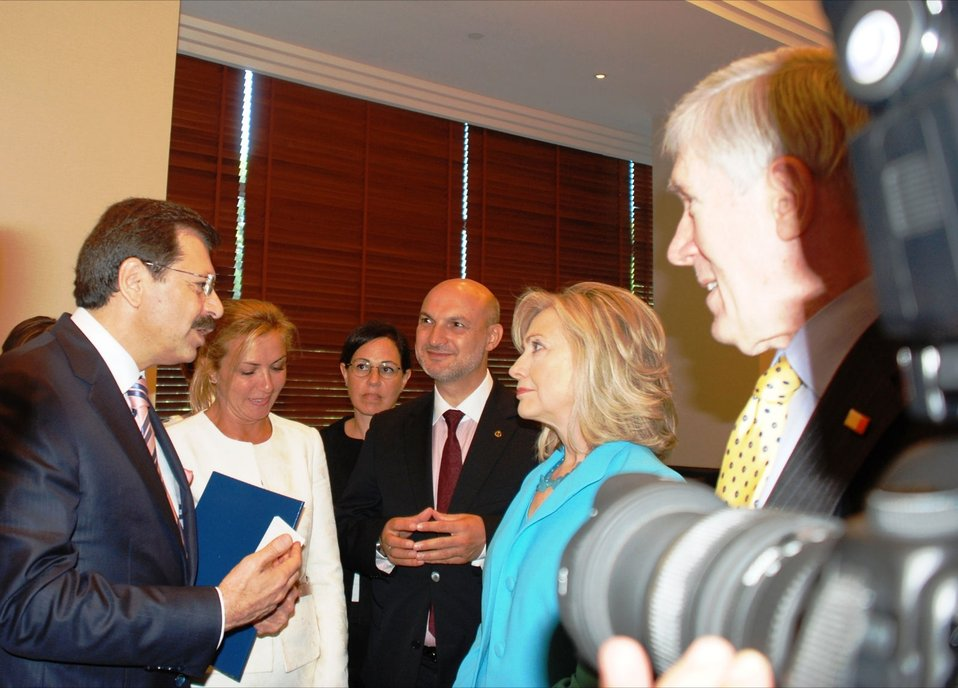 Secretary Clinton Speaks With Partners for a New Beginning (PNB) Initiative Meeting Participants
