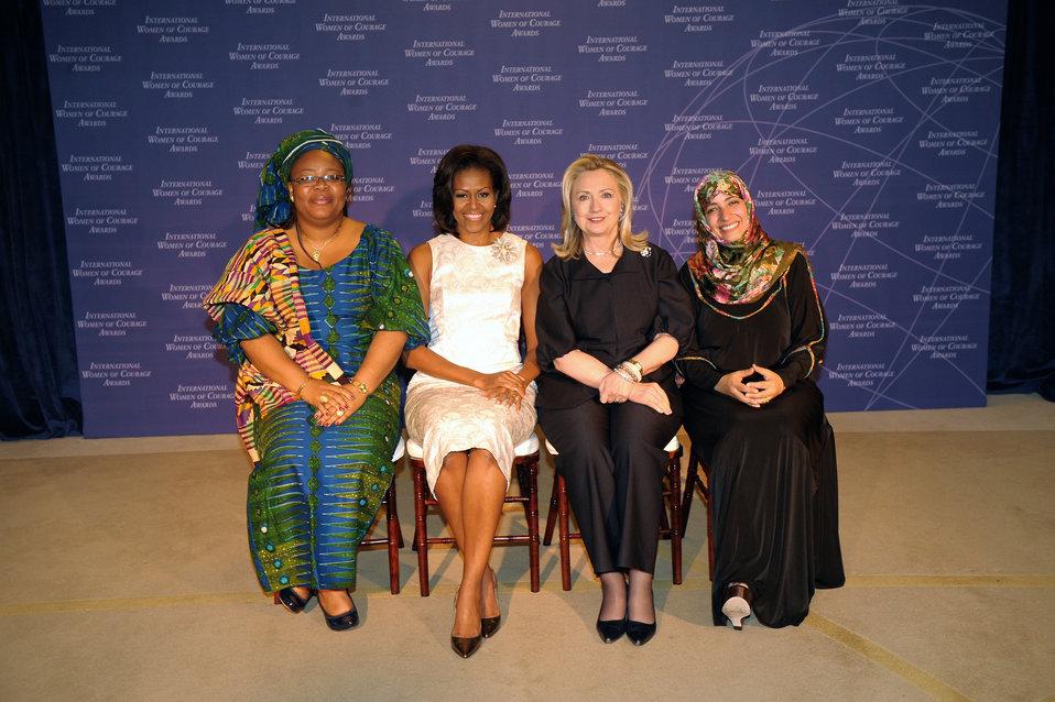 Secretary Clinton and First Lady Obama With  2011 Nobel Peace Prize Laureates Leymah Gbowee and Tawakkol Karman