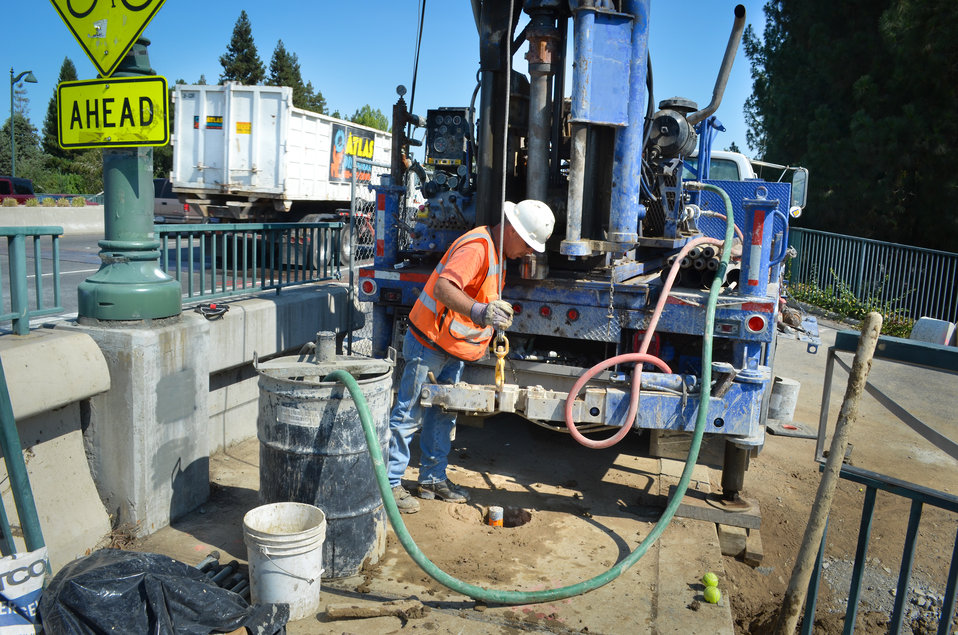 Corps contractor inspects borehole near Watt Avenue bridge