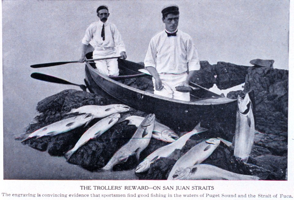 'The Trollers Reward - on San Juan Straits'. In:  'Puget Sound and Western Washington  Cities-Towns Scenery', by Robert A. Reid, Robert A. Reid Publisher, Seattle, 1912.  P. 133.