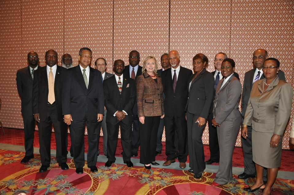 Secretary Clinton Poses for a Photo With CARICOM Ministers