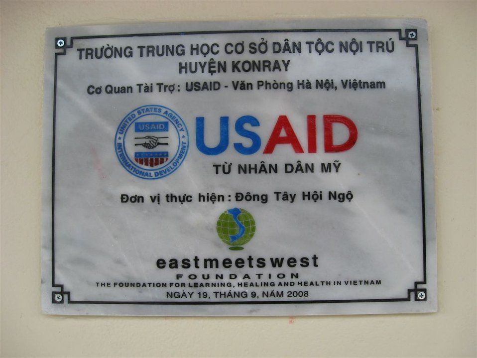 A plaque at the Kon Ray School highlights support from the American people.