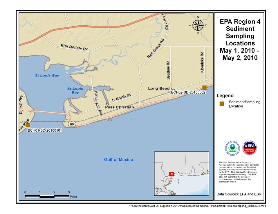 EPA Sediment Sampling Locations May 1-2, 2010