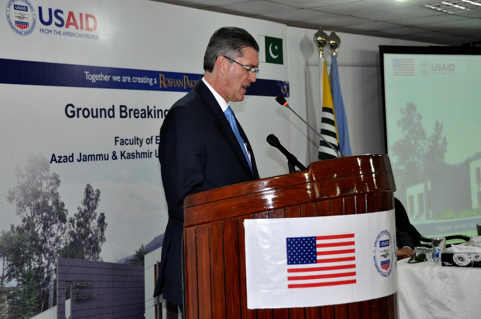 The United States Ambassador to Pakistan, Richard Olson broke ground for a U.S. funded construction of a new Faculty of Education building in Muzaffarabad, AJK.  11