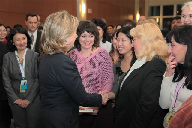 Secretary Clinton Greets Members of the U.S. Embassy Astana Staff and Their Families