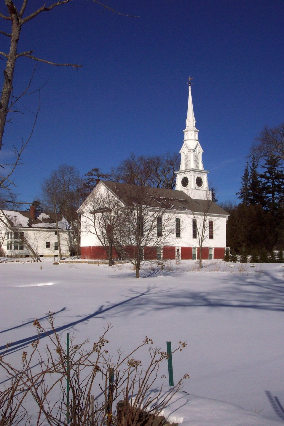 A beautiful New England Church at Castine.  Note the fish-shaped weather vane on the steeple.