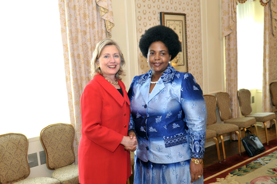 Secretary Clinton Shakes Hands With South African Foreign Minister Mashabane