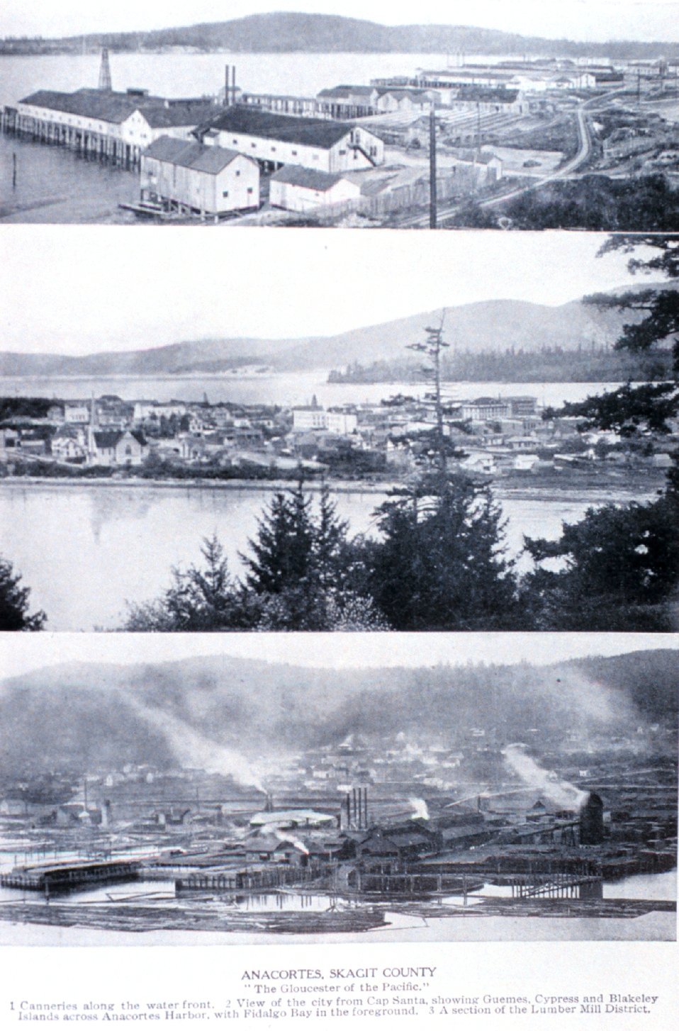 Views of 'Anacortes, Skagit County'  the 'Gloucester of the Pacific'. In:  'Puget Sound and Western Washington  Cities-Towns Scenery', by Robert A. Reid, Robert A. Reid Publisher, Seattle, 1912.  P. 109.