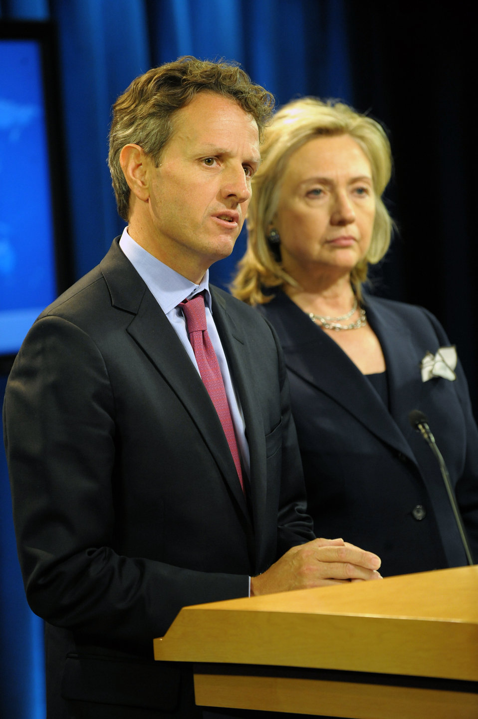Secretary Geithner and Secretary Clinton Deliver an Announcement of an Executive Order on on Human Rights Designations