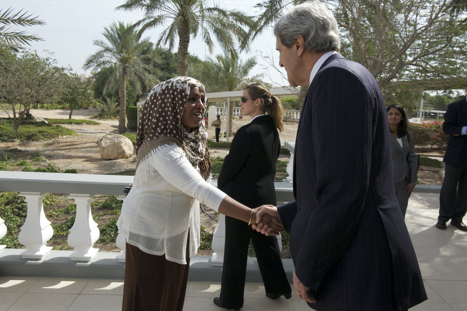 Secretary Kerry Shakes Hands With Embassy Doha Staff