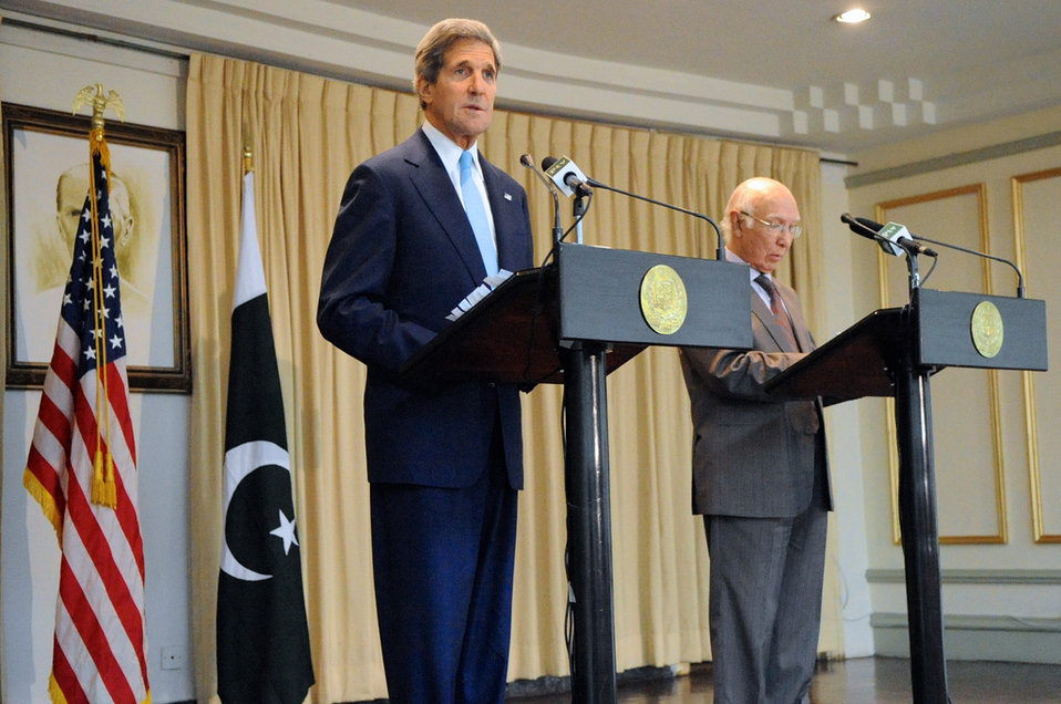 Secretary Kerry and Pakistani Advisor Aziz Address Reporters
