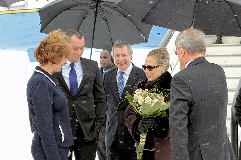 Secretary Clinton Is Welcomed to Bulgaria By Bulgarian Officials and Ambassador Warlick