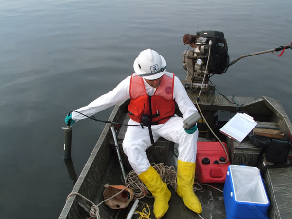 July 2009, Harbor Project Environmental Scientist monitors water quality