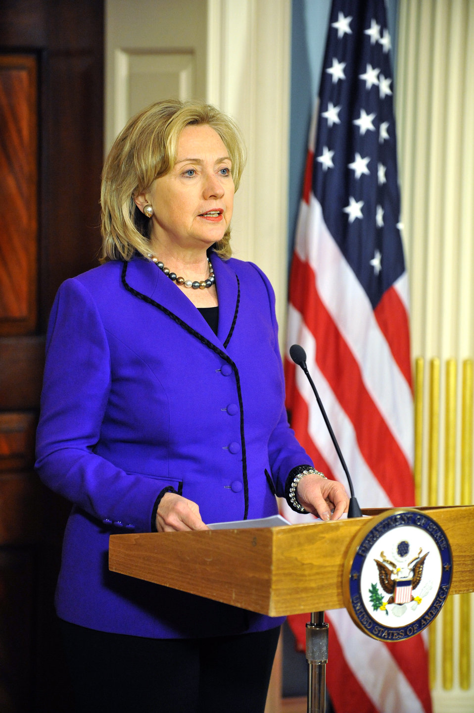Secretary Clinton Makes a Press Announcement