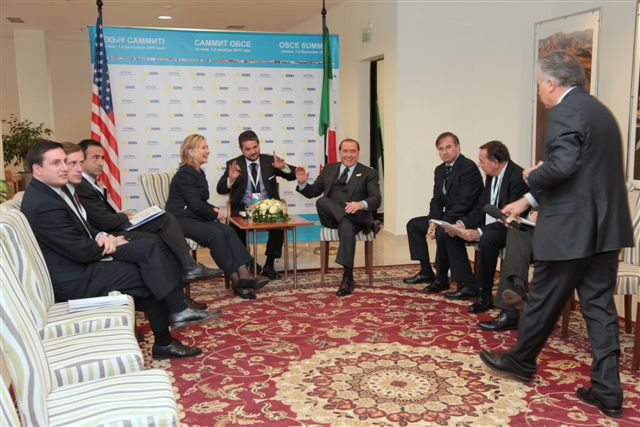 Secretary Clinton Holds a Bilateral Meeting With Italian Prime Minister Berlusconi