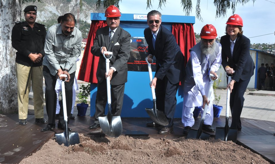 The United States Ambassador to Pakistan, Richard Olson broke ground for a U.S. funded construction of a new Faculty of Education building in Muzaffarabad, AJK.  21