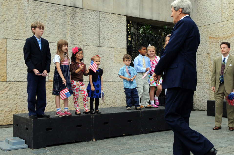 Secretary Kerry Meets With Children of Embassy Bogota Staffers