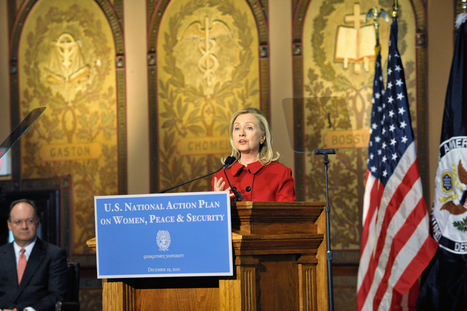 Secretary Clinton Delivers Remarks on Women, Peace, and Security