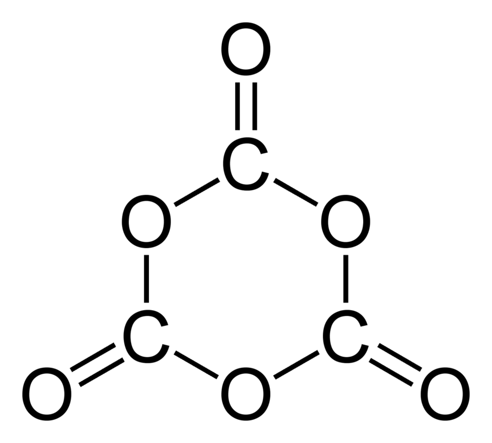 Structural formula of the 1,3,5-trioxanetrione molecule, C3O6. Structure drawn in ChemDraw Ultra 11.0.