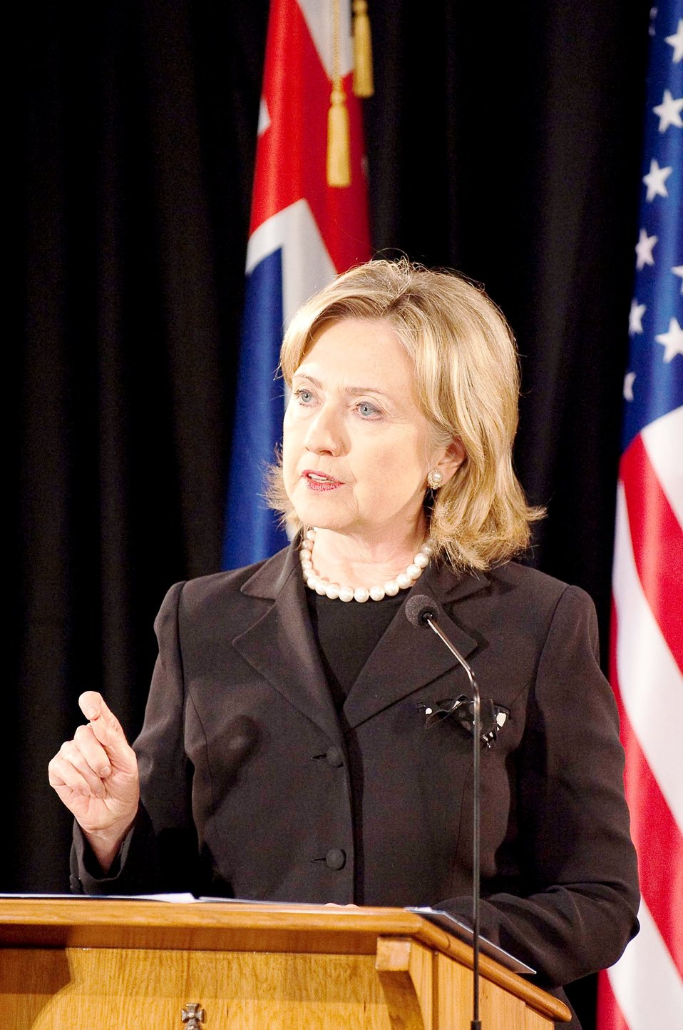 Secretary Clinton Speaks During a Joint Press Availability