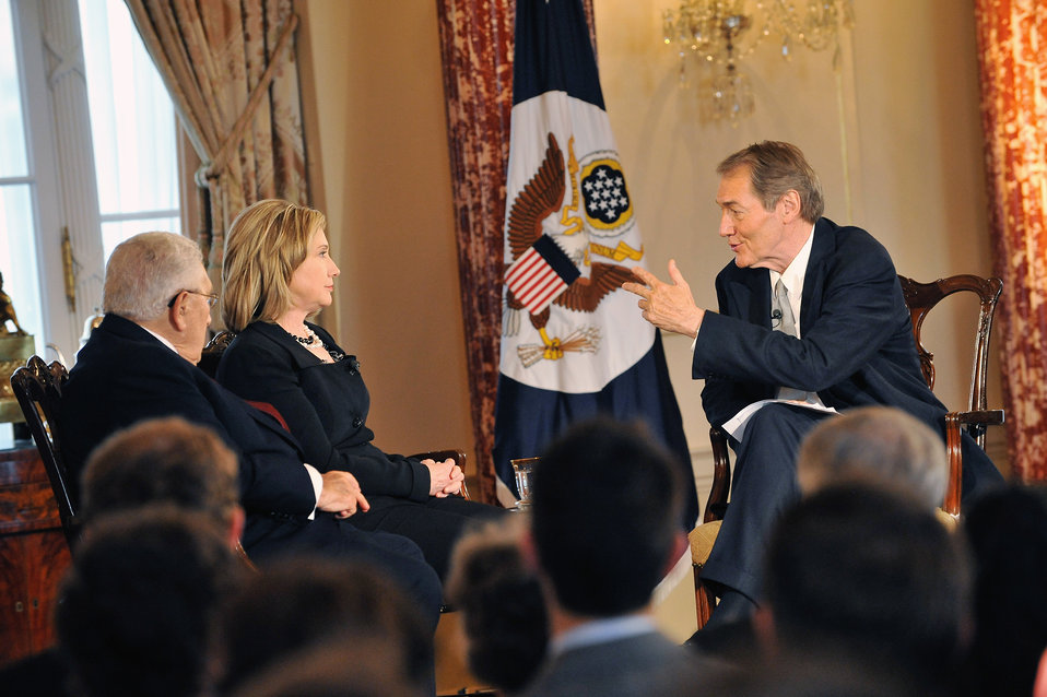 Secretary Clinton and Former Secretary Kissinger Film 'Conversations on Diplomacy, Moderated By Charlie Rose'