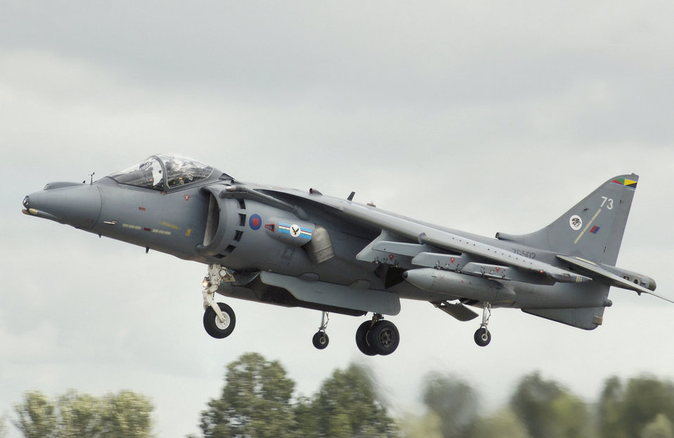 British Aerospace Harrier GR9 (codes ZG502/73) arrives at the 2008 Royal International Air Tattoo, Fairford, Gloucestershire, England, United Kingdom of Great Britain and Northern Ireland.