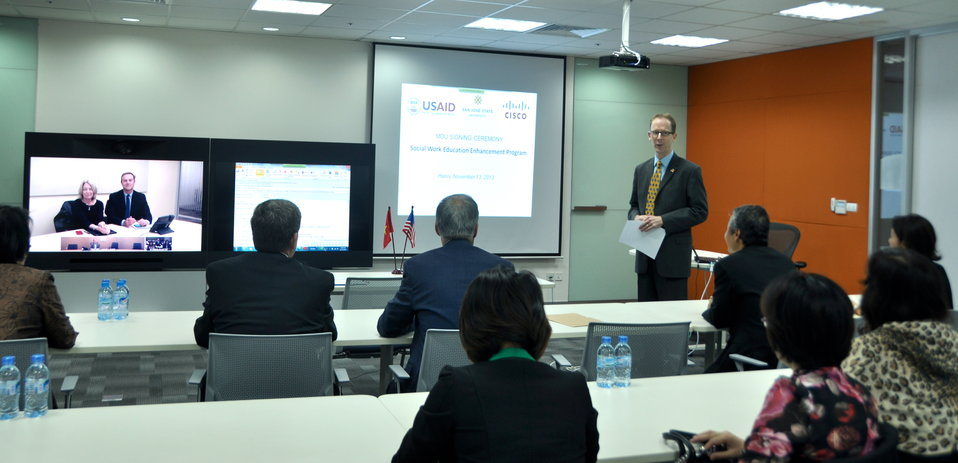 USAID Mission Director Joakim Parker speaks at the MOU signing ceremony.