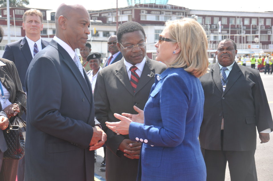 Secretary Clinton Speaks Ambassador Lenhardt and Tanzanian Foreign Affairs Minister Membe
