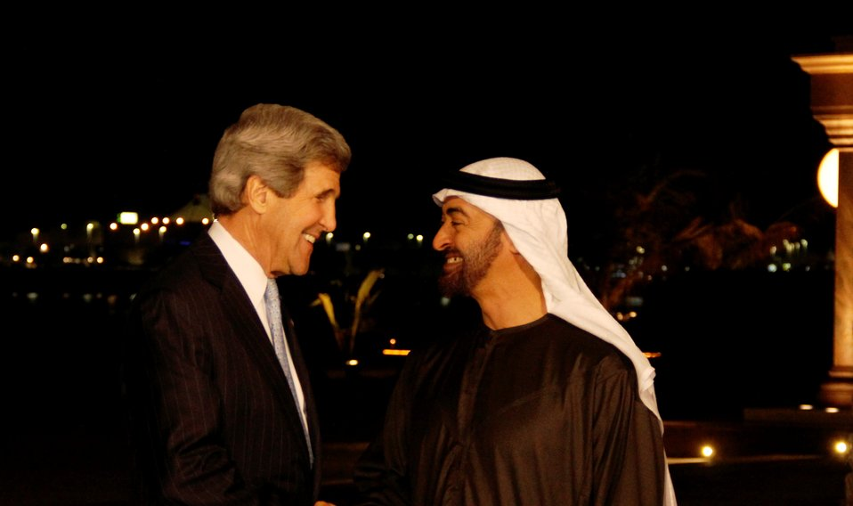 Secretary Kerry Is Greeted By Crown Prince Mohammed bin Zayed al Nahyan
