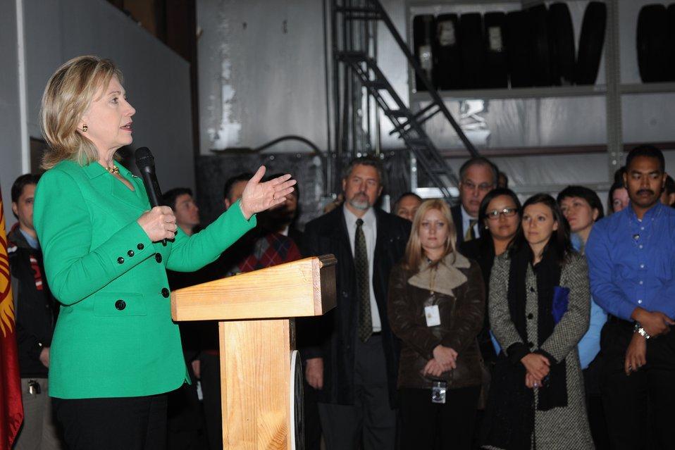 Secretary Clinton Speaks With Embassy Bishkek Staff