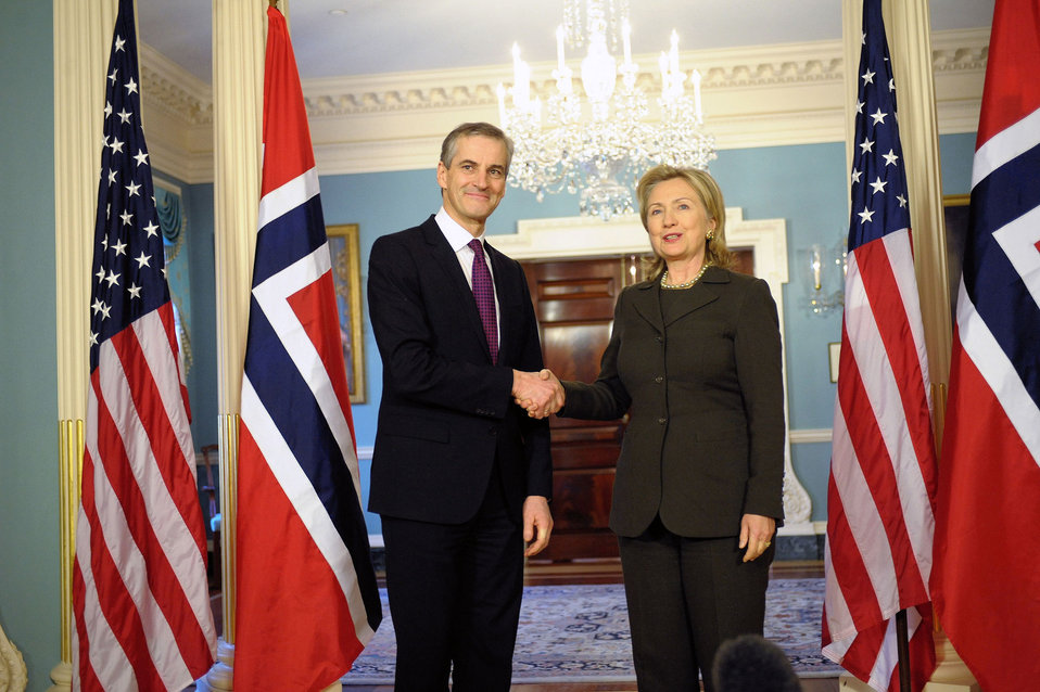 Secretary Clinton Shakes Hands With Norwegian Foreign Minister Stoere