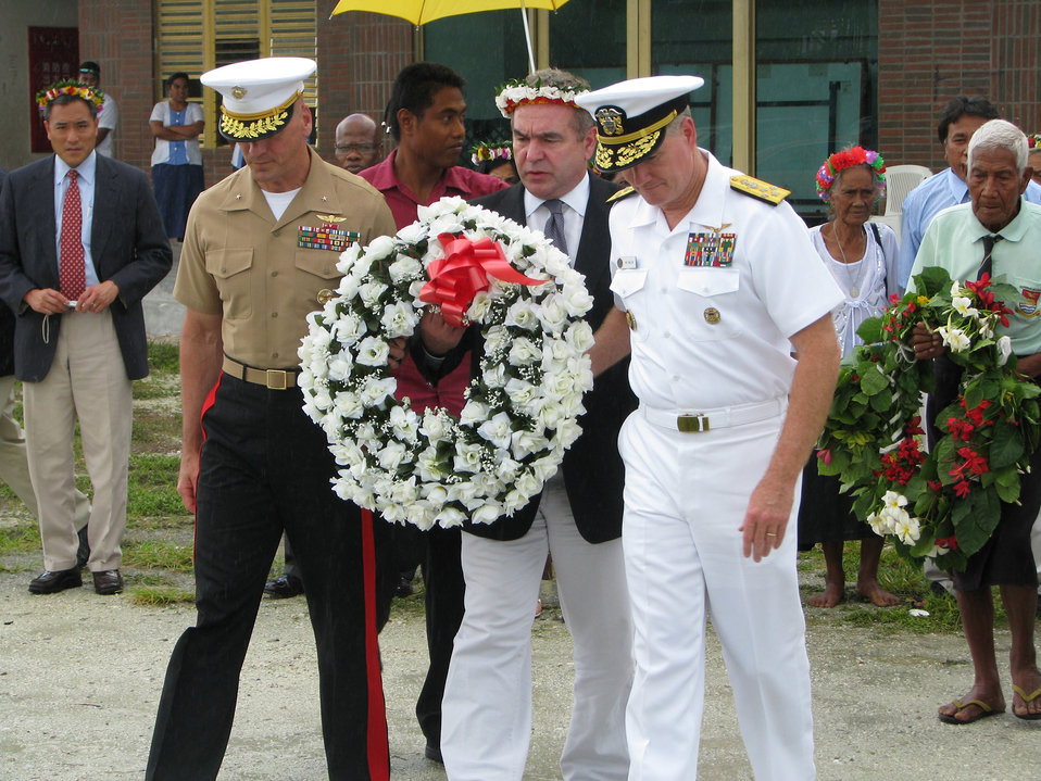 Assistant Secretary Campbell, Admiral Walsh, and Brig. Gen. Simcock Prepare To Lay a Wreath