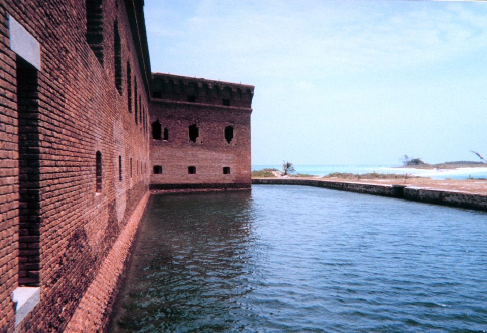 Looking at the outside walls and moat around Fort Jefferson.