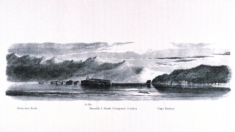 The lighthouse at Tatoosh Island with Cape Flattery and the entrance to the  Straits of Juan de Fuca seen in the right center. In:  Pacific Coast.  Coast Pilot of California, Oregon, and Washington Territory .  By George Davidson, 1869.  P. 179.  Library