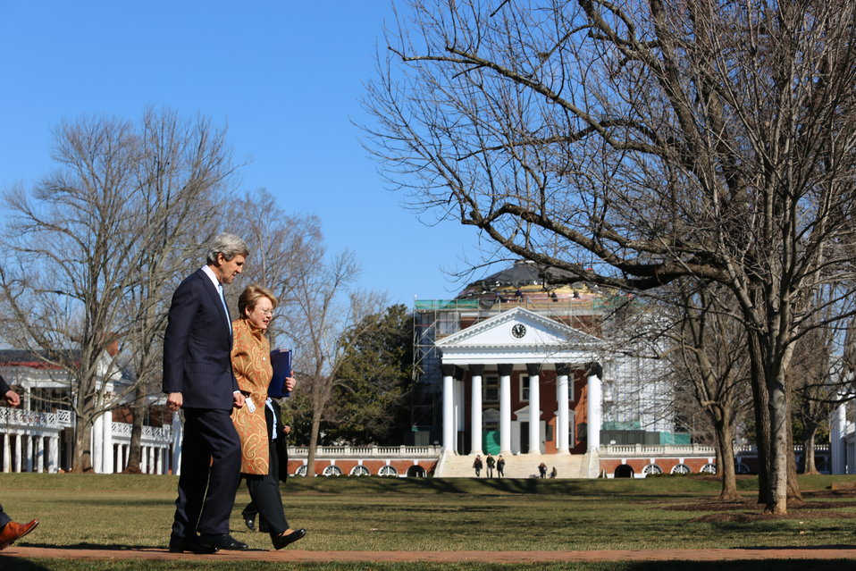 Secretary Kerry Walks With UVA President Sullivan