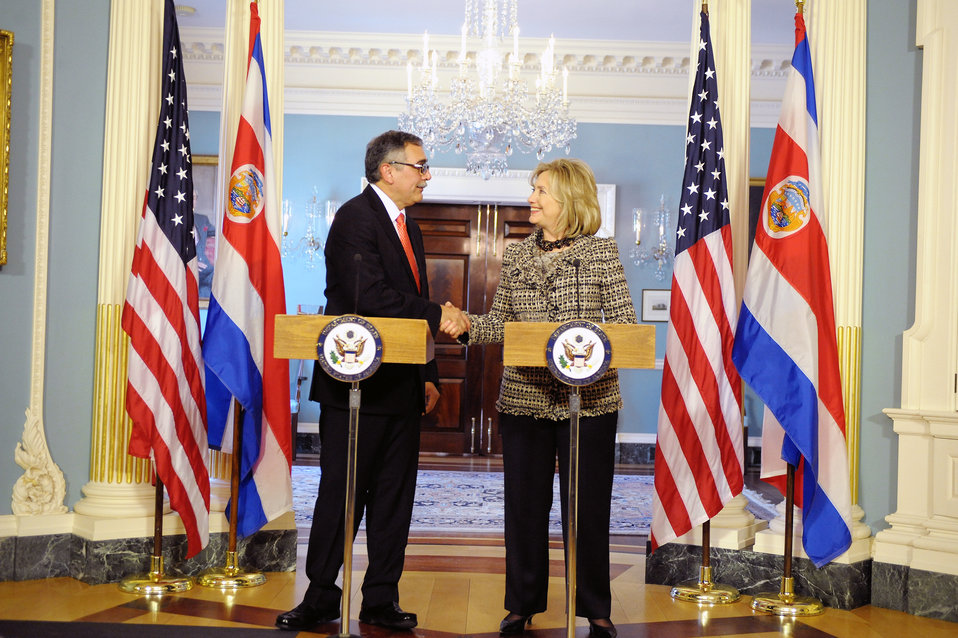 Secretary Clinton Shakes Hands With Costa Rican Foreign Minister Castro