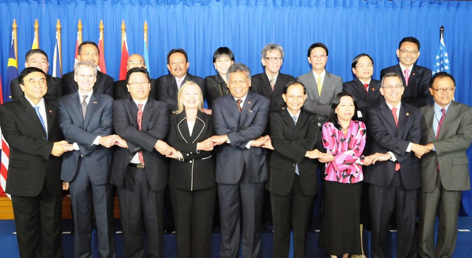 Secretary Clinton Smiles for a Photo With ASEAN Leaders